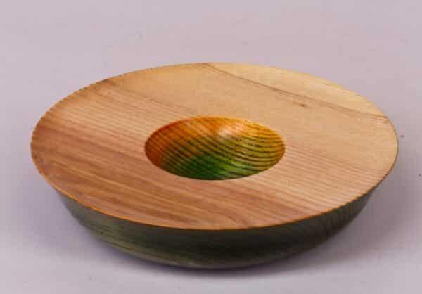 Ash turned rainbow vessel coloured