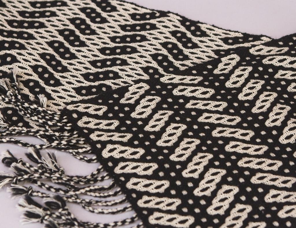 scarf black cream silk cotton merino deflected double weave
