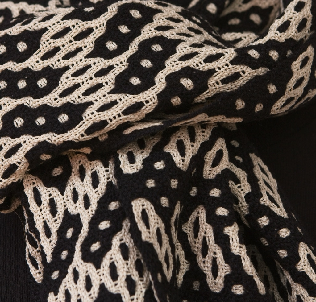 scarf black cream silk cotton merino deflected double weave