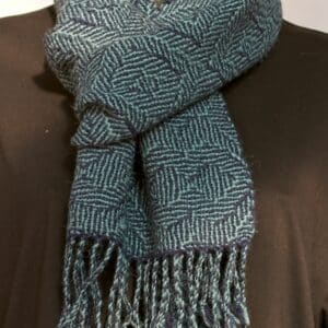 Alpaca Scarf Green Blue Pattern