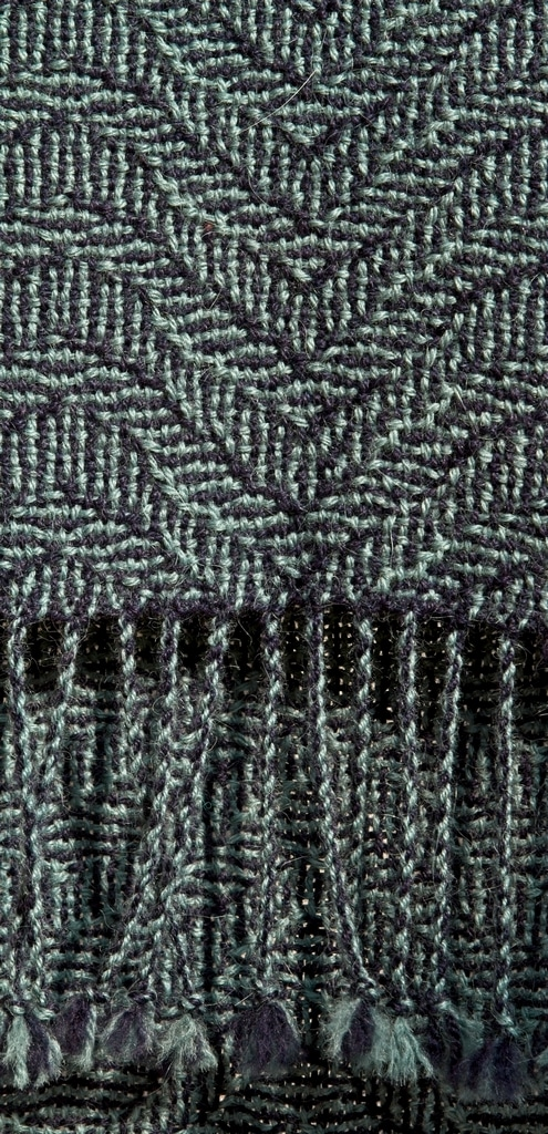Alpaca Scarf Green Blue Pattern